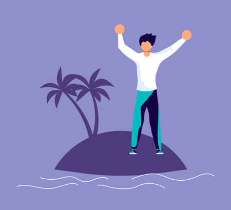 Lonely desperate unhappy man screams for help on a desert island. Metaphor of Psychological crisis, regret or sad feelings. Flat Art Vector Illustration