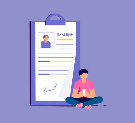 Tiny man select a resume for a job. Big application form for employment. Work hiring concept for recruitment agency. Isolated on purple. Flat Art Vector Illustration