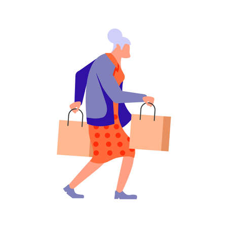 Joyful shopping People bunner. Elderly woman carrying shopping bags with purchases, taking part in seasonal sale at store, shop, mall. Flat Art Vector Illustration