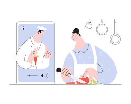 Online cooking course concept. Woman has video streaming online cook training on her smartphone. Chef cooking course social media technologies. Flat Art Vector Illustration Иллюстрация