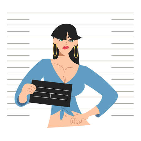Young impudent woman inmates in jail with board in hands posing for identification photo on Police mugshot lineup board background. Flat Art Vector illustration