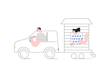 Young married couple traveling by car with their movable tiny house. People in inexpensive vacation concept. Flat Art Vector Illustration Ilustrace