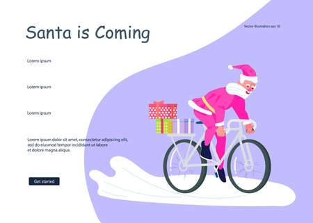 Landing web page template for Christmas and New Year celebration. Santa Claus with huge red bag with presents by bicycle. Social media banner of sale, offer, discount. Flat Art Vector Illustration