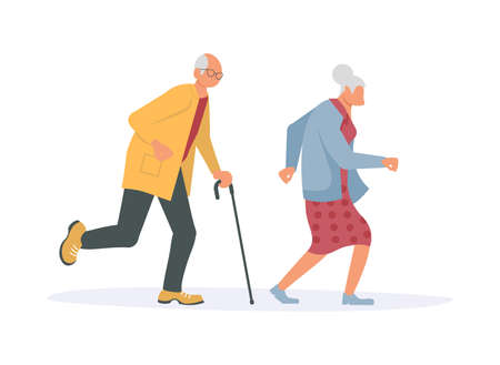 Joyful running elderly people bunner. Old men and women late, hurry or haste. Flat Art Vector Illustration