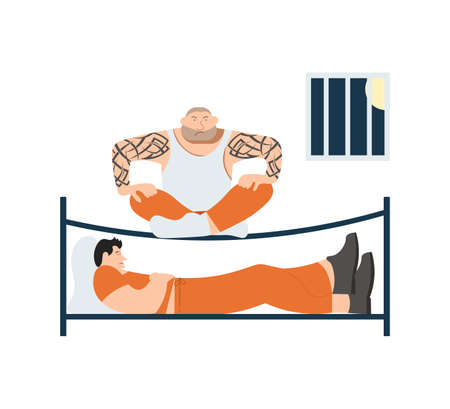 Concept of prisons living. Prisoners sitting in his cell on bunk. Flat Art Vector Illustration  イラスト・ベクター素材