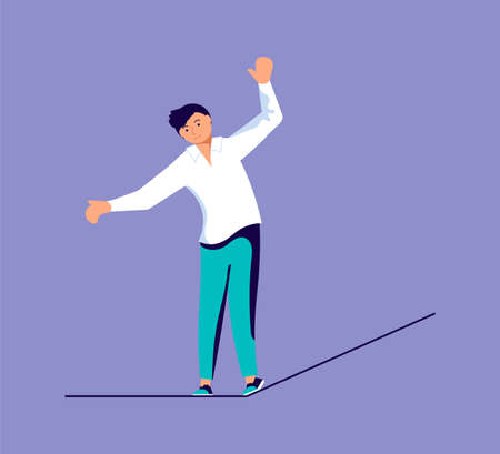Businessman ropewalker standing and balancing on rope. Metaphor of balance between business risk and success, career and personal life. Flat Art Vector Illustration