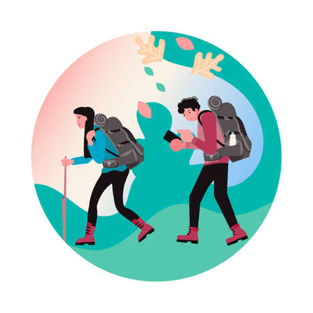 Hiking trekking and camping in nature. Social Media Story highlight icon. Happy man and woman backpackers hikers travel together. Flat Art Vector Illustration