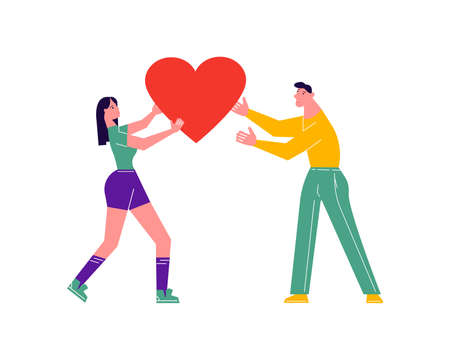 Girl giving her heart, man taking heart as a sign of connection and unity. Woman sharing love, support, appreciation to man. Love and relationships concept. Flat Art Vector Illustration 向量圖像