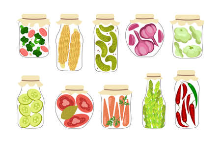 Set of jars with homemade pickled vegetables. Home Canning of autumn harvest. Pickles and preserves isolated. Flat Art Vector Illustration