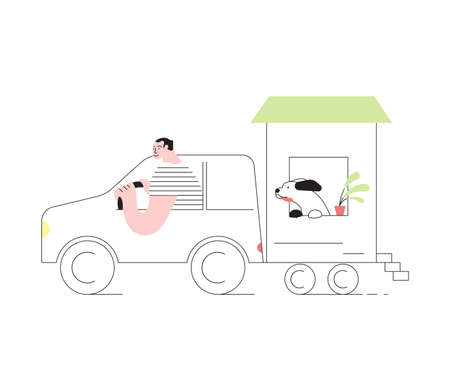 Young and his friend dog traveling by car with their movable tiny house. People in inexpensive vacation concept. Flat Art Vector Illustration