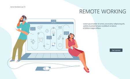Landing webpage template of at corporate personal remote work. Organization of a workplace outside the office. Flat Art Vector Illustration 向量圖像