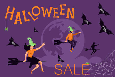 Halloween sale banner. Saleswoman witch flying on a broom and letting go of bats with discounts. Flat Art Vector Illustration
