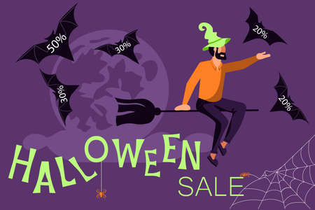 Halloween sale banner. Salesman witch flying on a broom and letting go of bats with discounts. Flat Art Vector Illustration