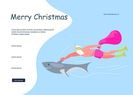Landing web page template for Christmas and New Year celebration. Santa Claus with huge red bag with presents by shark on the sea. Social media banner of sale, offer, discount. Flat Art Vector Illustration