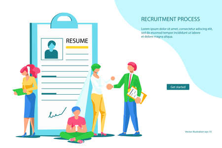 Landing web page template of Hiring employees and new workplaces. Expansion and emergence of new enterprises for labor market concept. Flat Art Vector Illustration