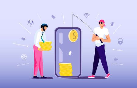 Concept of Phishing scam or cyber attack. Digital thief is fishing with unlocked smartphone and steals money from an electronic account. Flat Art Vector Illustration 版權商用圖片 - 156593813