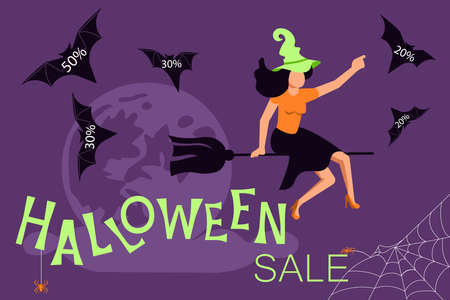Halloween sale banner. Sales woman witch flying on a broom and letting go of bats with discounts. Flat Art Vector Illustration