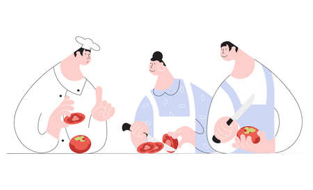 Concept of cooking course in simple minimalist line design isolated on white background. Chef demonstrates the tomatoes cooking to students, man and woman on Cook training. Flat Vector Illustration