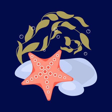 Starfish and seaweed on underwater dark blue marine background. Flat Art Vector Illustration