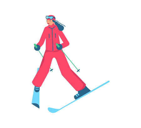 Beginner female skier doing exercise at alpine skiing lesson. Woman in mountain ski school isolated on white background. Flat Art Vector Illustration 向量圖像