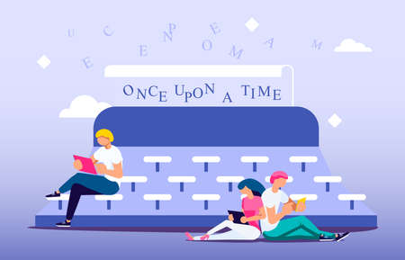 Concept of writing texts and literary works. Tiny people literature text authors on huge typewriter are Writing Books and Poetry. Flat Art Vector Illustration