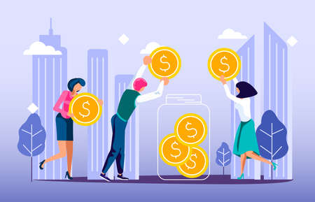 Concept of donation of money and volunteering in the city. Tiny people neighbors collect coins to make donate to the needy and homeless. Flat Art Vector Illustration