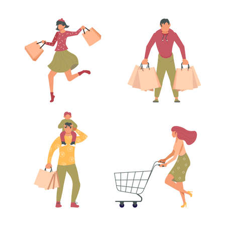 Joyful shopping People set. Men and women carrying shopping bags with purchases, taking part in seasonal sale at store, shop, mall.