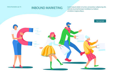 Landing webpage template of Inbound Marketing. Sales woman attracts different buyers with a huge magnet. Inbound Marketing metaphor. Flat Art Vector illustration
