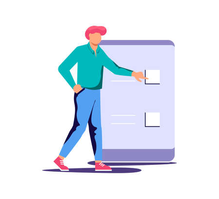 Concept of electronic voting or testing. Tiny man makes his choice and presses a button on the smartphone in electoral internet system. Flat Art Vector Illustration