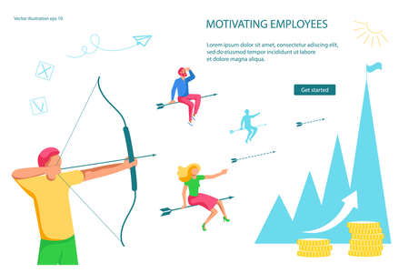 Landing webpage template of Leadership Practicing Skills. Businessman leader motivates and guides employees to achieve the success goal. Flat Art Vector illustration