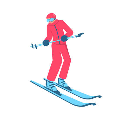 Beginner skier doing exercise at alpine skiing lesson. People in mountain ski school. Flat Art Vector Illustration 向量圖像