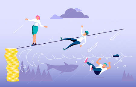 Concept of business risk and success, danger of risky decisions. Businessman ropewalker standing and balancing on rope. Flat Art Vector Illustration