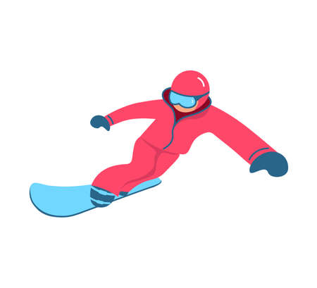 Snowboarder performing a trick jump isolated on white background. Flat Art Vector Illustration 向量圖像