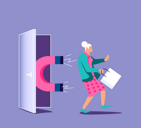 Magnet attracts potential product elderly woman buyer to shop. Concept of Influencer marketing, attraction customers. Isolated on purple. Flat Art Vector Illustration 矢量图像