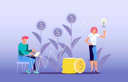 Concept of money investment. Financial forecast and analyzing stock market profit concept. Flat Art Vector Illustration 向量圖像