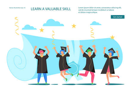Landing webpage template of Graduated. Tiny students wearing academic gown and graduation cap celebrate graduation. A folded diploma year in the background. Flat Art Vector Illustration