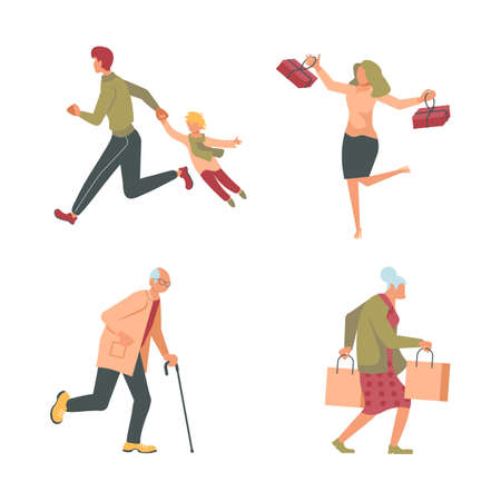 Joyful shopping People set. Men and women carrying shopping bags with purchases, taking part in seasonal sale at store, shop, mall. Flat Art Vector Illustration