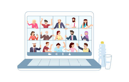 Laptop with online meeting. Different People taking part in video conference on distance.  Flat Art Vector Illustration