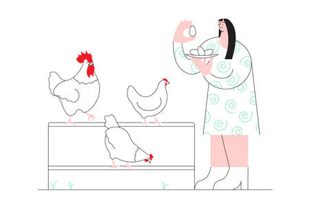 Woman collects fresh eggs at the backyard poultry farm, chicken breeding. Concept of home production of breakfast eggs in simple minimalistic line design. Flat Art Vector Illustration