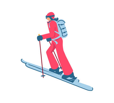Woman mounting skier goes uphill skiing for ski touring isolated on white background. Flat Art Vector Illustration