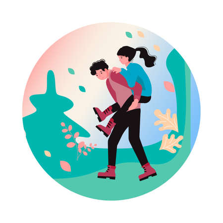 Hiking trekking and camping in nature Social Media Story highlight icon. Happy man and woman backpackers hikers travel together. Flat Art Vector Illustration