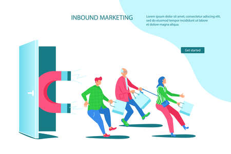 Landing webpage template of Inbound Marketing. Sales offers attract different buyers with a huge magnet. Inbound Marketing metaphor. Flat Art Vector illustration Çizim