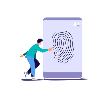 Data protection smartphone by fingerprint concept. Secure payment, personal information security. Flat Art Vector Illustration