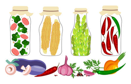 Set of jars with homemade pickled vegetables. Home Canning of autumn harvest. Pickles and preserves isolated. Flat Art Vector Illustration 向量圖像