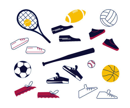 Set of sneakers and sport balls. Colorful equipment for sports, healthy lifestyle and physical activity in modern outline minimalism design. Flat Art Vector Illustration