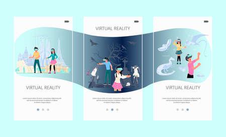 Onboarding screen set of VR technology. Boy and girl with VR headset are playing and learning. Virtual reality for education and games. Flat Art Vector illustration Ilustracja