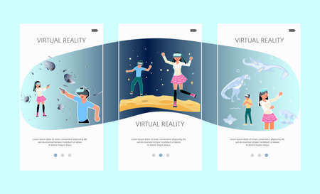 Onboarding screen set of VR technology. Boy and girl with VR headset are playing and learning. Virtual reality for education and games. Flat Art Vector illustration 向量圖像