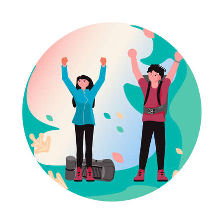 Couple of Backpackers put their hands up and rejoice at the success. Young Hikers in forest in round label Vector Illustration