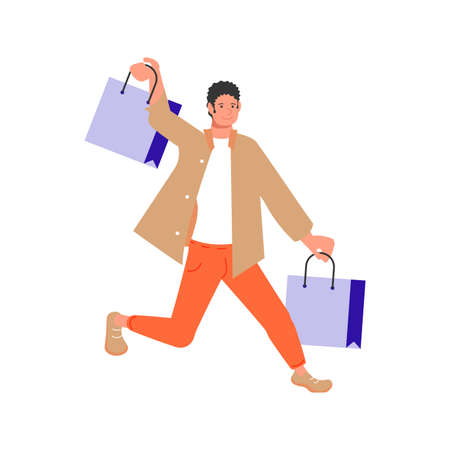 Man shopper with packages rushing to the sale isolated in white background. Vector illustration 向量圖像