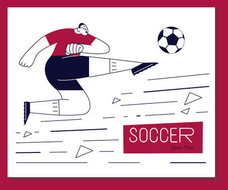 Soccer flayer with player scores a goal. Football banner in modern outline minimalist design. Flat Art Vector Illustration Çizim